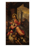 Holy Family, Young St John and St Francis Giclee Print