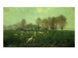 Countryside at Sunset with Turkeys Giclee Print