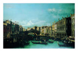 Grand Canal with the Rialto Bridge and Dolfin Manin Palace Giclee Print