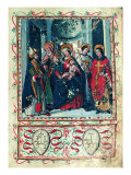 Madonna and Child Between Saints Imerio Omobono Cosma and Damian Giclee Print
