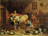 Peasants and Animals (The Lombard Farmhouse Farmstead) Giclée-Druck von Fortunato Depero
