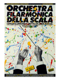 Poster of Philharmonic Orchestra of La Scala Theatre: Symphony Concert Conducted by Lorin Maazel Gicléetryck av Fortunato Depero