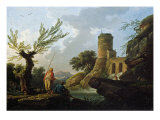 Landscape with Fishermen by a Torrent Reproduction procédé giclée par Ludwig Hohlwein