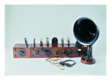 Battery-Powered Radio with Brown Loudspeaker Horn Giclee Print by Evaristo Baschenis