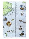 John White's Map of the Atlantic Coast of North Carolina and Virginia, 1500s Giclee Print