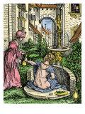 European Garden of About 1515, Represented as Bathsheba Bathing Giclee Print