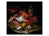 Still Life with Herring, Lobster, Turbots, Mullets, Oysters, Sea Hen, Lemon, and Brickwork Pot Giclee Print by Hayez Francesco