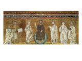 Benedictory Jesus with Sts Lawrence, Peter, Paul, Stephen, Hippolytus and Pope Pelagio Giclee Print by Felice Giani