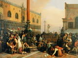 The Lottery Draw in Piazza San Marco Giclee Print by Lorenzo Lotto