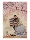 Japanese Mother and Infant Meeting a Poet under a Cherry Tree Giclee Print