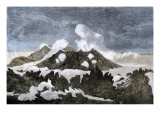 Mount Hekia Volcano with Steam Emitting from the Summit, Iceland, 1800s Giclee Print