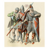 Knights in Armor Prepared for Battle at the Time of the Norman Invasion of England, 1066 Giclee Print