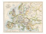 Map of Europe During the Crusades, 1000 to 1200 Ad Giclee Print