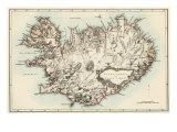 Map of Iceland, 1870s Impression giclée