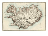 Map of Iceland, 1870s Giclee Print