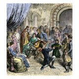 Minstrels and Jugglers Performing at a Royal Court, Middle Ages Giclee Print