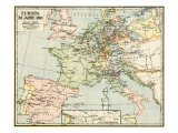 Map of Europe in 1810, During the Napoleonic Wars Giclee Print