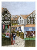 Apothecary, Barber, Furrier, and Tailor Shops Along a Street in the 1400s Giclee Print