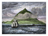 Sailing Ships Passing the Peak of Tenerife, or Teyde, Canary Islands, 1800s Giclee Print