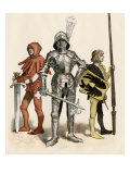 Swiss Knight in Field-Armor with His Page and Squire, 1400s Giclee Print