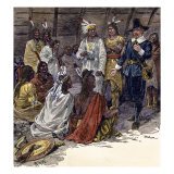 Roger Williams at the Council of Canonicus, Sachem of the Narragansett Tribe, Giclee Print