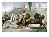 Greek Hero Achilles Dragging Hector's Body Behind His Chariot in the Trojan Wars Giclee Print