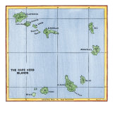 Map of the Cape Verde Islands in the Atlantic Giclee Print