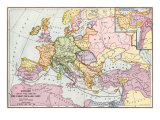 Map of Europe at the Time of the First Crusade, 1097 Ad Giclee Print