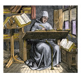 Medieval Scribe Writing at a Desk, Surrounded by Open Manuscripts Giclee Print