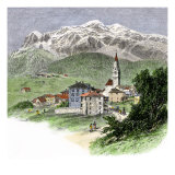 Village of Cortina Below Mount Tofana in the Dolomites, Italian Alps, 1800s Giclee Print