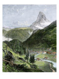 Village of Zermatt in the Valley Below the Matterhorn Giclee Print