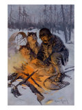 Snowshoe Traveler and His Arctic Dog-Team at a Campfire Wydruk giclee