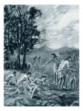 Mound-Builders Gathering their Crops of Maize and Squash, Giclee Print