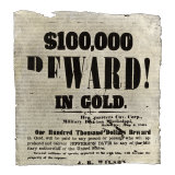 Reward Poster Offering $100,000 in Gold for the Capture of Jefferson Davis, May 1865 Giclee Print