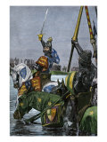 King Edward Iii of England Leading the English Army across the Somme in France Giclee Print