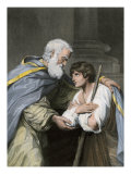 Prodigal Son Returns Home and Asks His Father's Forgiveness, a Parable in the Biblical Book of Luke Giclee Print
