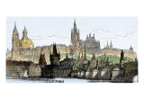 Hradschin Palace, Kleinseite, and Bridge over the Vltava River in Prague, Czechoslovakia, 1800s Giclee Print