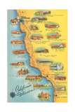 Map of the Missions, California Posters