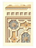 Intricate Coffered Ceiling Pattern Posters