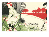 Victorian Drawing of Woman on Bicycle Premium giclée print