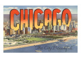 Large Letters in Downtown Chicago, Illinois Posters