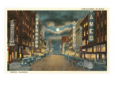 Night, Curtis Street, Denver Print