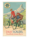 Tall and Fat Guy Riding Bicycles in Mountains Posters
