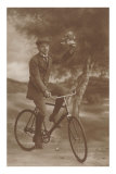 Photo of Man on Bicycle with Flowers Posters