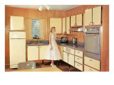 Woman Showcasing Modern Kitchen Posters