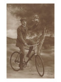 Photo of Man on Bicycle with Flowers Print