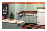 Modern Kitchen with Black and Orange Tile Floor Poster