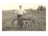 Black and White Photo of Man with Vintage Motorcycle Premium giclée print