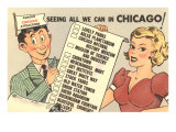 Cartoon Checklist of Sites, Chicago, Illinois Poster