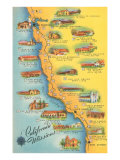 Map of the Missions, California Poster